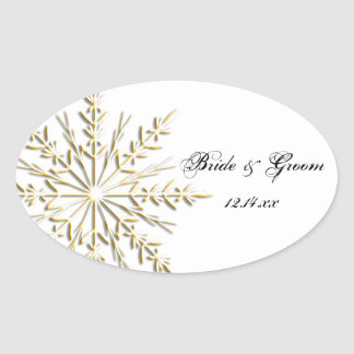 Gold Snowflake Winter Wedding Envelope Seals Oval Stickers