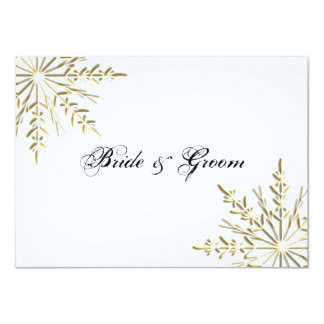 Gold Snowflake Winter Wedding Flat Stationery Note 4.5x6.25 Paper Invitation Card