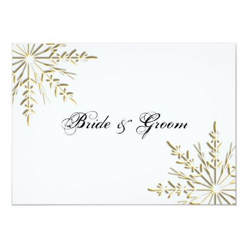 "Gold Snowflake Winter Wedding Flat Stationery Note 4.5"" X 6.25"" Invitation Card"