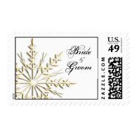 Gold Snowflake Winter Wedding Postage Stamp