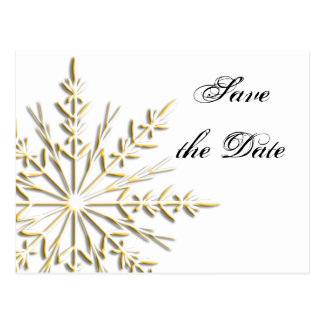 Gold Snowflake Winter Wedding Save the Date Postcard