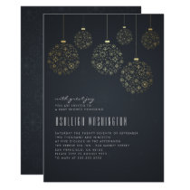 Gold Snowflakes & Baubles | Modern Baby Shower Card
