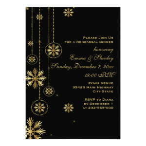 Gold snowflakes black wedding rehearsal dinner cards
