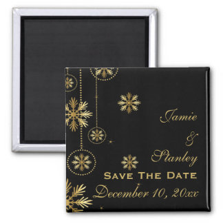 Gold snowflakes black winter wedding Save the Date 2 Inch Square Magnet