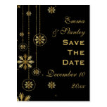 Gold snowflakes black winter wedding Save the Date Postcards