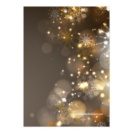 Gold Snowflakes & Bokeh Lights Holiday Invitation Announcements (back side)