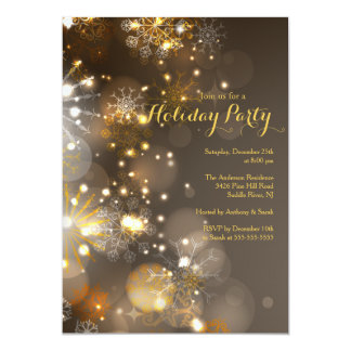 Gold Snowflakes & Bokeh Lights Holiday Invitation