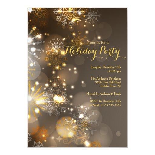 Gold Snowflakes & Bokeh Lights Holiday Invitation
