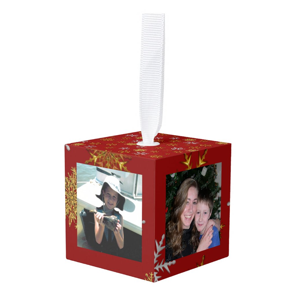 Gold Snowflakes Christmas Photos Cube Ornament