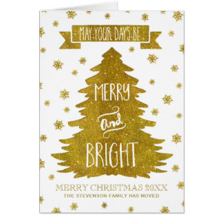 Gold Snowflakes Christmas Tree We've Moved Card