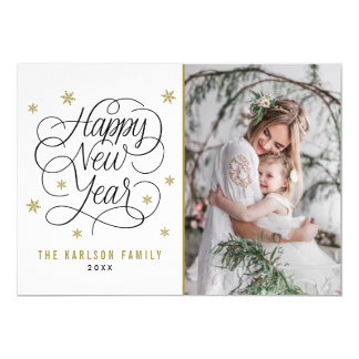 Gold Snowflakes | Happy New Year Photo Card