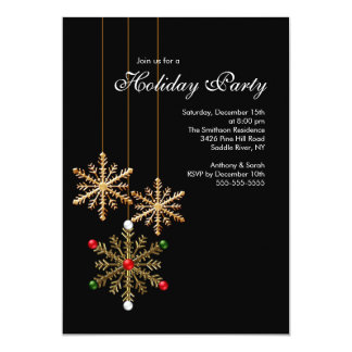 Gold  Snowflakes Holiday Party Invitation