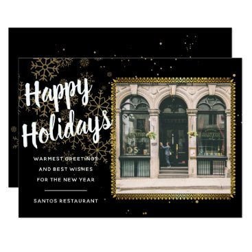 Professional Business Gold Snowflakes Holiday Photo Card