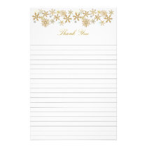 Gold Snowflakes Lined Christmas Thank You Paper