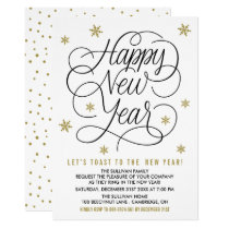 Gold Snowflakes | New Year's Eve Party Invitation