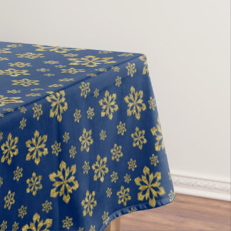 Gold Snowflakes On Blue Tablecloth