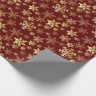 Gold Snowflakes on Deep Red - Wrapping Paper