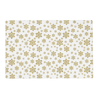 Gold Snowflakes on White and Blue Placemat