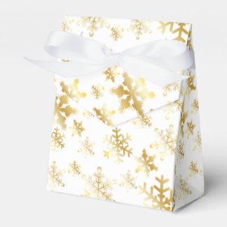 Gold Snowflakes on White Ribbon Favor Box