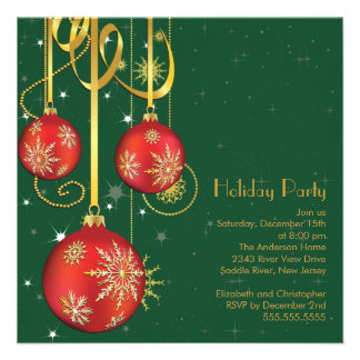 Gold Snowflakes Ornament Holiday Party Invitation