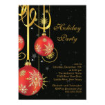 "Gold Snowflakes Ornament Holiday Party Invitation 5"" X 7"" Invitation Card"