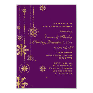 Gold snowflakes purple wedding couples shower card
