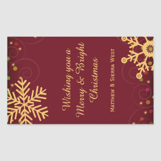 Gold Snowflakes Red Christmas Holiday Wine Label Rectangle Sticker