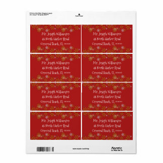 Gold Snowflakes Red Christmas Shipping Label