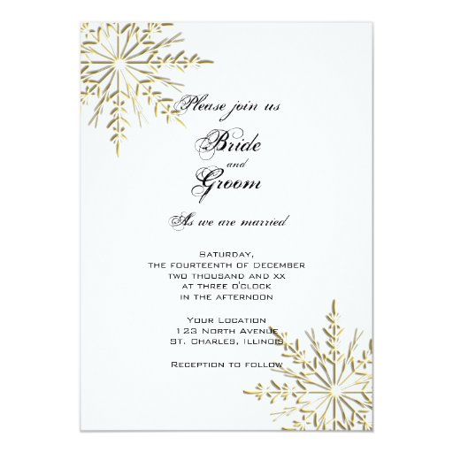 Gold Snowflakes Wedding Invitation