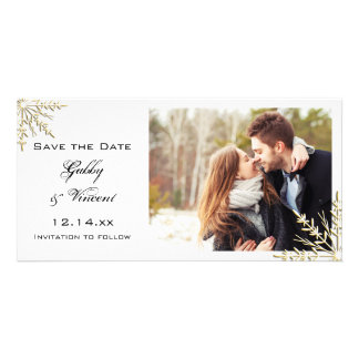 Gold Snowflakes Winter Wedding Save the Date Card