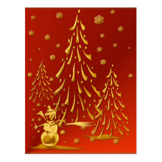 Gold Snowman and Christmas Tree Postcard