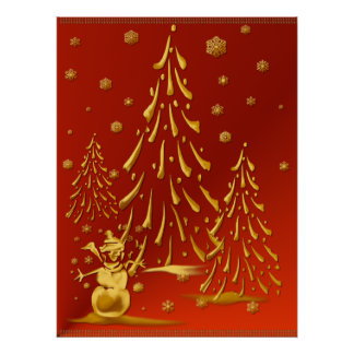 Gold Snowman and Christmas Tree Print