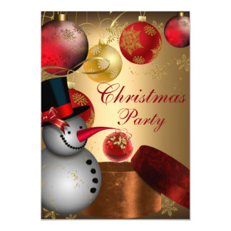 Gold Snowman Christmas Party Invitation