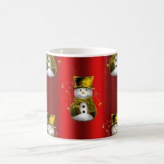 Gold Snowman on Red Coffee Mug