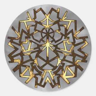 Gold Snowman Snowflake Classic Round Sticker