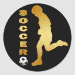 GOLD SOCCER PLAYER CLASSIC ROUND STICKER