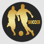 GOLD SOCCER PLAYERS CLASSIC ROUND STICKER