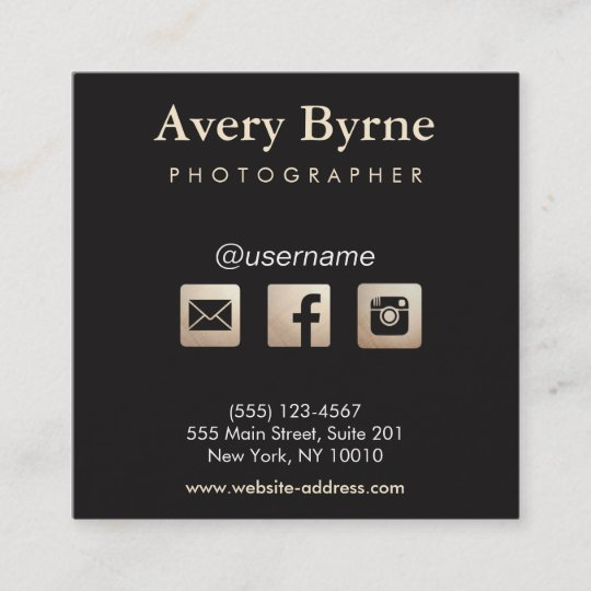 Gold social media icons black square business card zazzle gold social media icons black square business card colourmoves