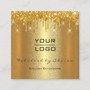 Gold Spark Makeup Artist Event Planner Beauty Logo Square Business Card