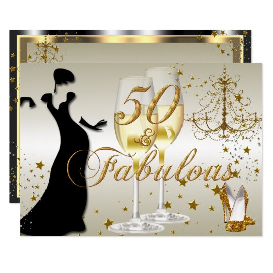 Gold sparkle 50 fabulous birthday invitation zazzle gold sparkle 50 fabulous birthday invitation filmwisefo