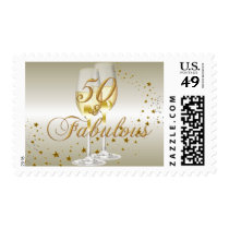 Gold Sparkle 50 & Fabulous Birthday Stamp
