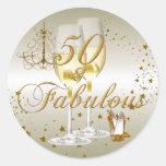 Gold Sparkle 50 & Fabulous Birthday Sticker