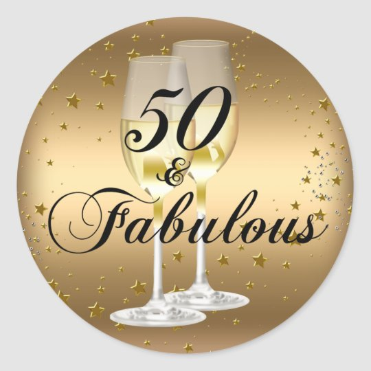 50 And Fabulous Text: Gold Sparkle 50 & Fabulous Birthday Sticker