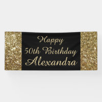 Gold Sparkle 50th Birthday Party Banner