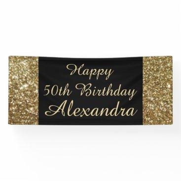 birthday Gold Sparkle 50th Birthday Party Banner