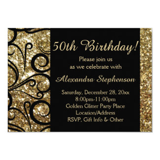 Gold Sparkle 50th Birthday Party Swirl 4.5x6.25 Paper Invitation Card