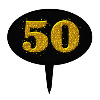 Gold Sparkle 50th Celebration Cake Topper