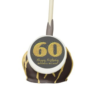 Gold Sparkle 60th Celebration Cake Pops