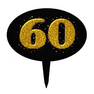 Gold Sparkle 60th Celebration Cake Topper