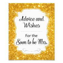 Gold Sparkle Bridal Shower Advice and Wishes Sign